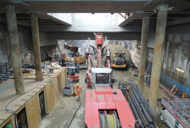 Wien U-Bahnlinie 1, Baulos 8 - Station Alaudagasse - Tunnel construction